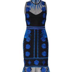 Nicole Miller blue embroidered flutter dress, 8